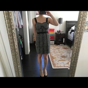 Guess black and white tweed knee length dress